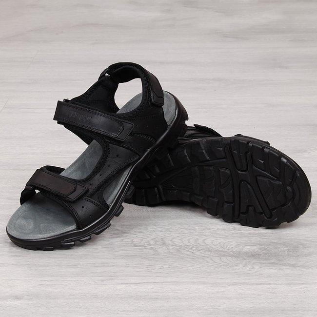 Sandały męskie skórzane na rzepy czarne NEWS