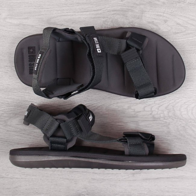 Sandały męskie sportowe na rzepy szare Big Star FF174501