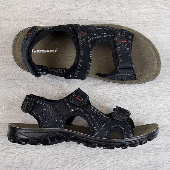 Sandały młodzieżowe skórzane czarne Hasby
