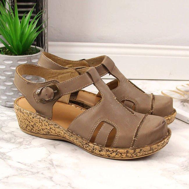 Sandały skórzane beżowe komfortowe Łukbut 656
