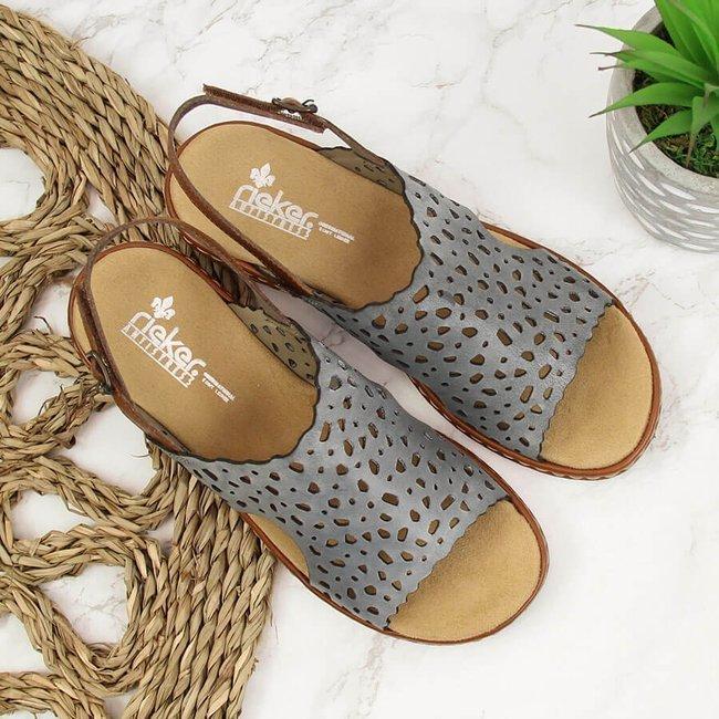 Sandały skórzane damskie ażurowe niebieskie Rieker 65966