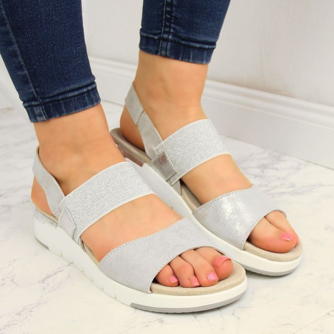 Sandały skórzane damskie na koturnie srebrne Filippo