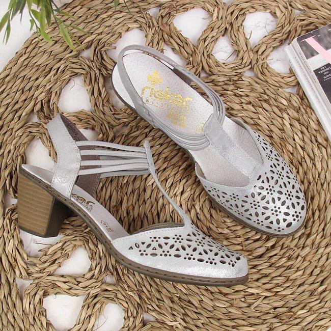 Sandały skórzane damskie na słupku srebrne Rieker 40969