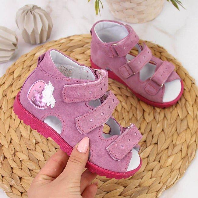 Sandały skórzane dziewczęce ortopedyczne różowe Kornecki