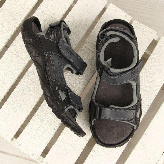 Skórzane czarne sandały męskie HELIOS 850