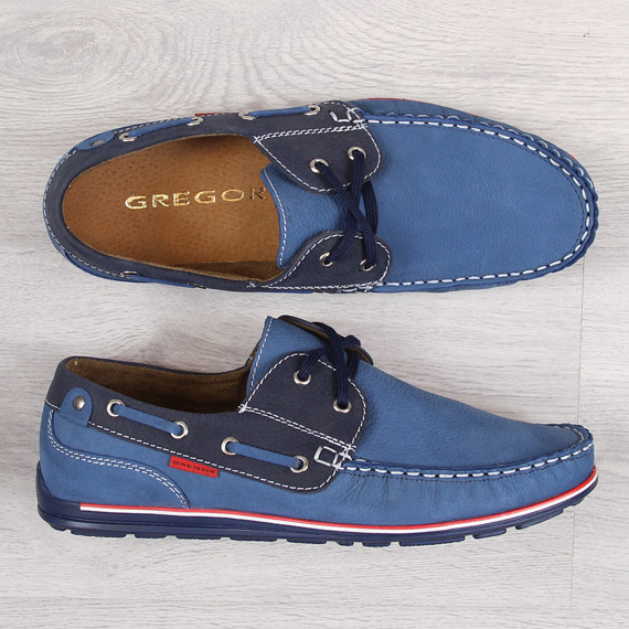 Skórzane mokasyny męskie niebieskie Gregor
