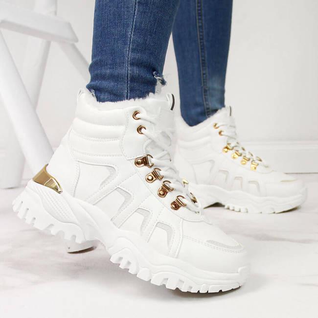 Sneakersy botki sportowe damskie ocieplane białe