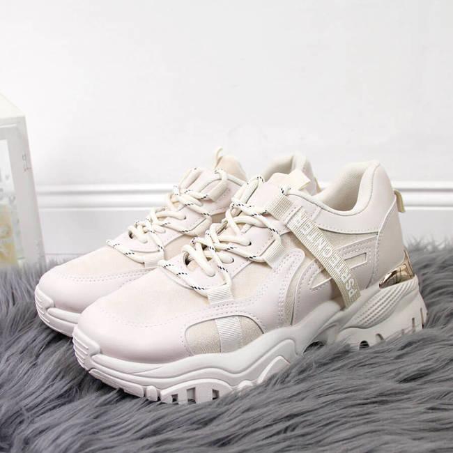 Sneakersy damskie na grubej podeszwie beżowe Seastar