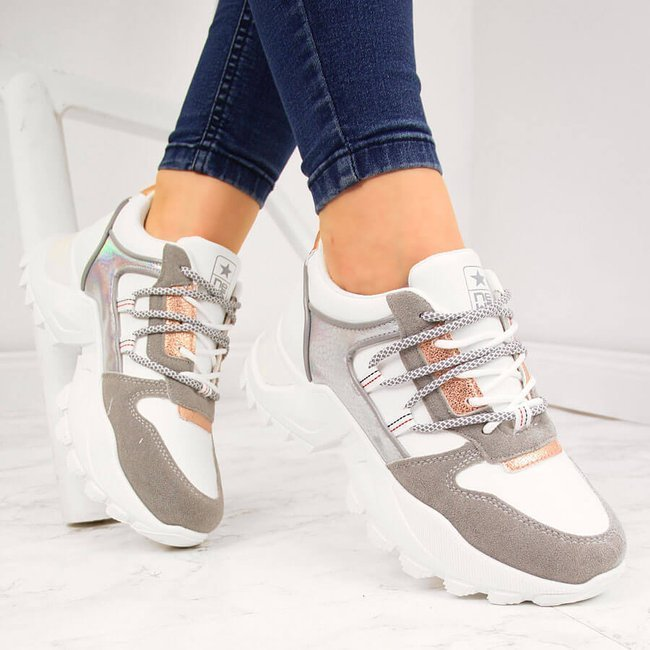 Sneakersy damskie na grubej podeszwie białe NEWS