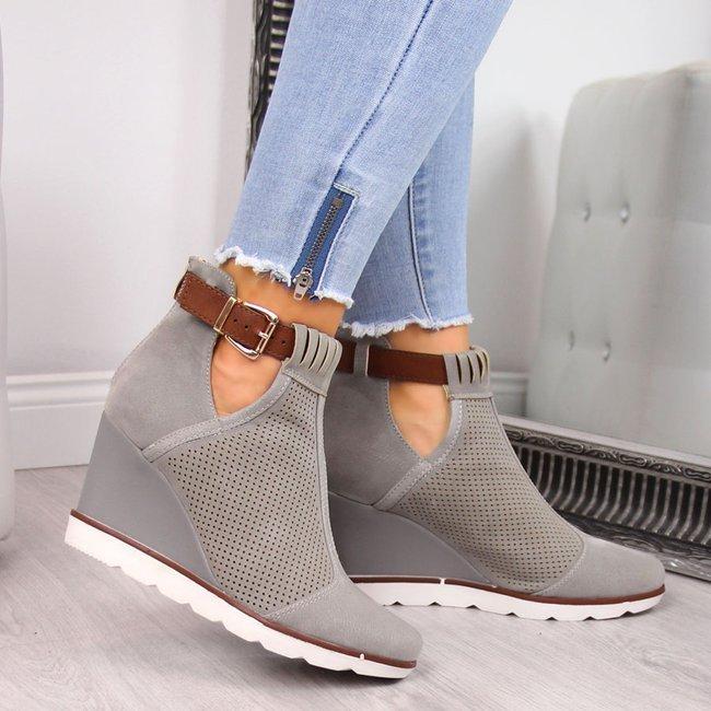 Sneakersy damskie na koturnie ażurowe szare Filippo