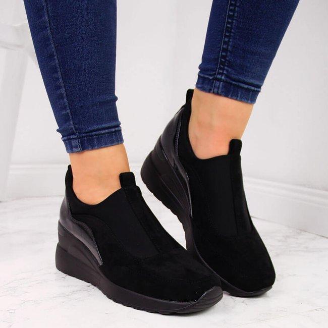 Sneakersy damskie na koturnie czarne Vinceza