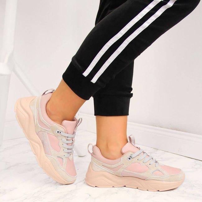 Sneakersy damskie na platformie różowe Big Star GG274655