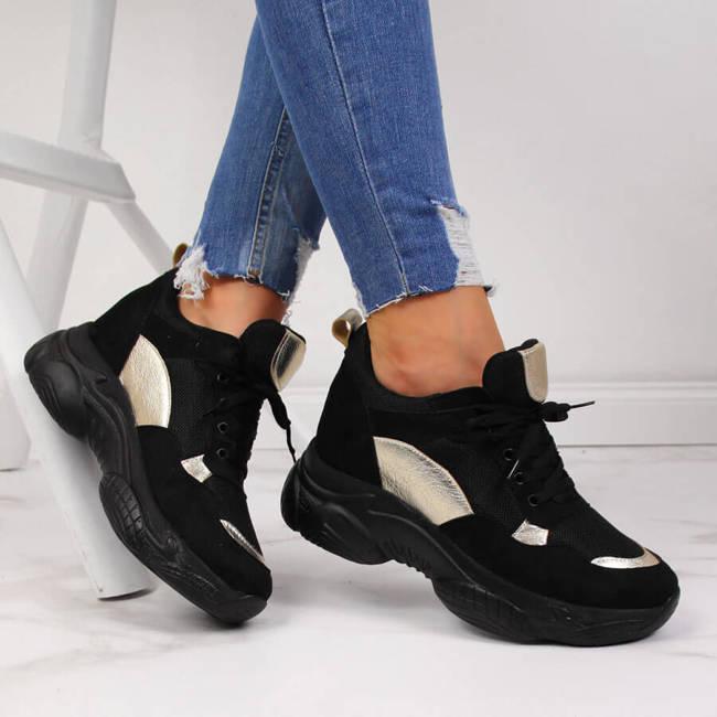 Sneakersy damskie na ukrytym koturnie czarne NAVY DOT