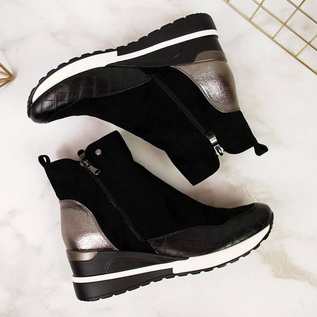 Sneakersy damskie ocieplane na koturnie czarne Potocki