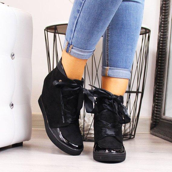 Sneakersy damskie ocieplane na koturnie czarne Sergio Leone