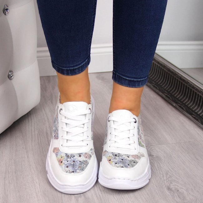 Sneakersy damskie skórzane w kwiaty białe Rieker 57025