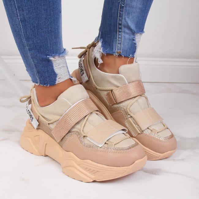 Sneakersy na grubej podeszwie rzepy beżowe NAVY DOT