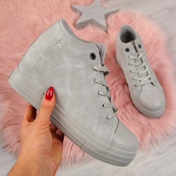 Sneakersy na koturnie damskie szare Big Star