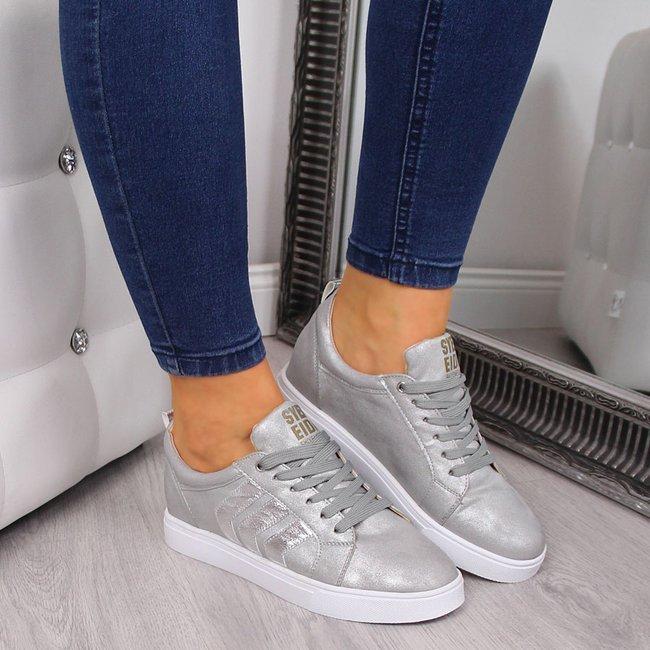 Sneakersy na koturnie srebrne Jezzi