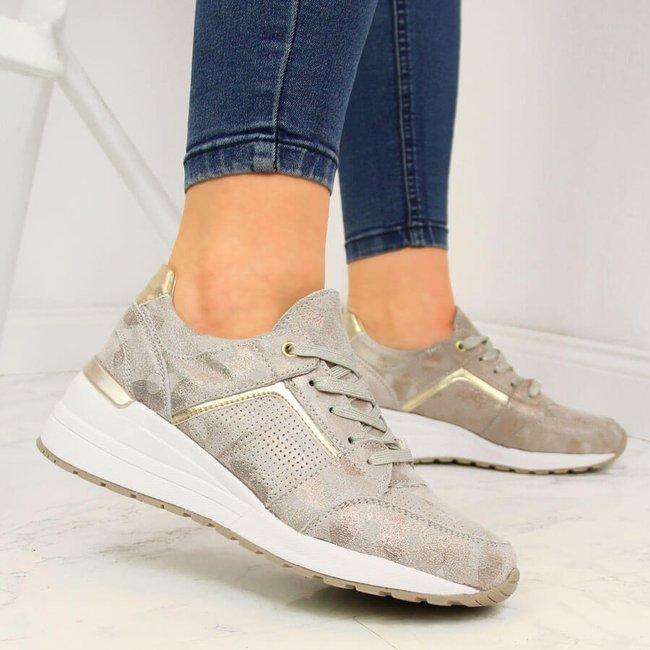 Sneakersy skórzane damskie na koturnie złote Filippo