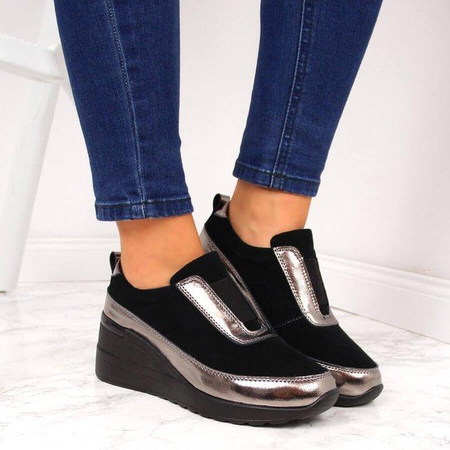 Sneakersy skórzane na koturnie metaliczne czarne S.Barski