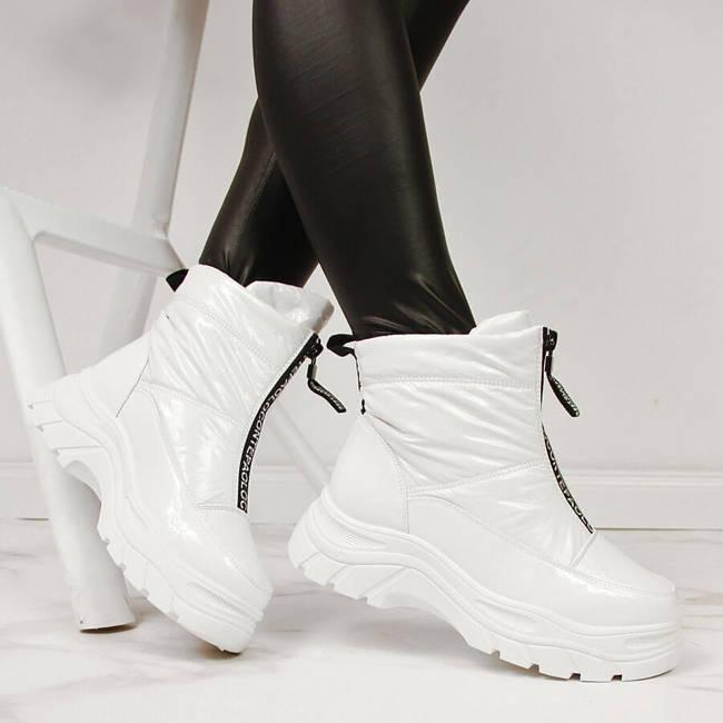 Śniegowce damskie na platformie białe Vinceza
