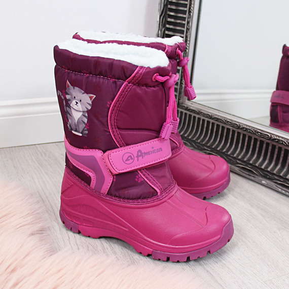 Śniegowce dziewczęce różowe American Club