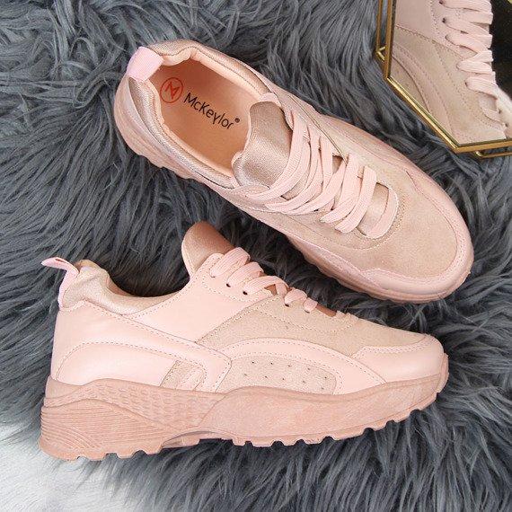 Sportowe buty damskie na grubej podeszwie różowe McKeylor