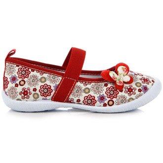 Tenisówki dziewczęce biało-czerwone kwiatki Hasby