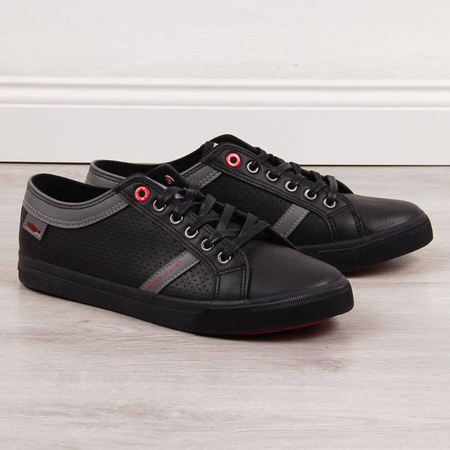 Trampki męskie niskie eko skóra czarne Cross Jeans II1R4004C