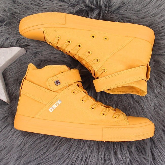 Trampki wysokie tekstylne na rzep żółte Big Star FF274581